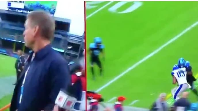 Former Dallas Cowboys QB Troy Aikman almost got run into during a sideline interview