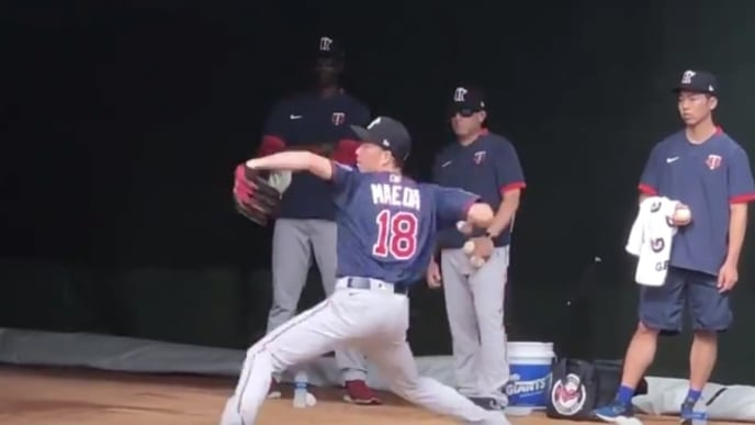 New Minnesota Twins SP Kenta Maeda throws bullpen session at spring training