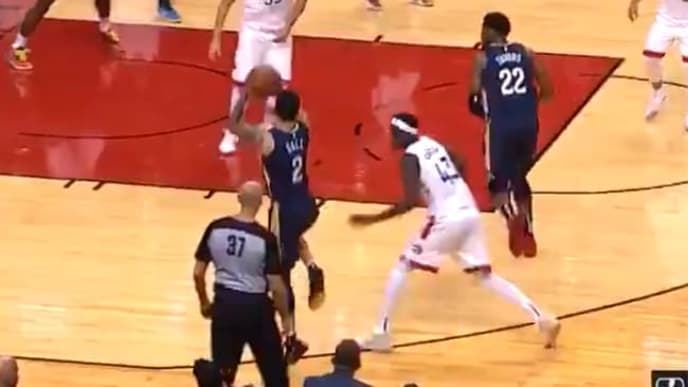 Lonzo Ball attempted James Harden's one-legged three pointer against the Raptors...and failed.