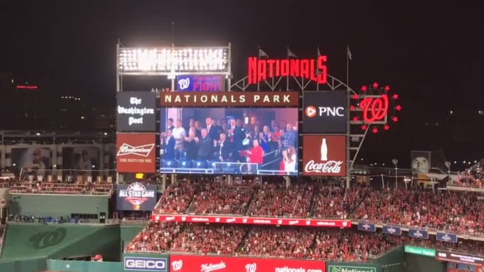 President Donald Trump booed massively at Nationals Park during World Series Game 5.
