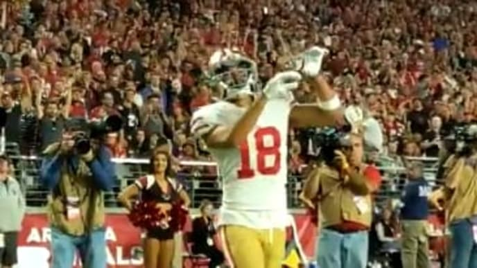 49ers receiver Dante Pettis celebrates touchdown with 'Thriller' dance on Thursday.