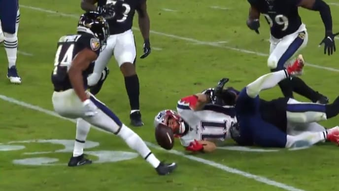 Julian Edelman fumbles on reception, leading to Ravens 70 yard touchdown on Sunday.