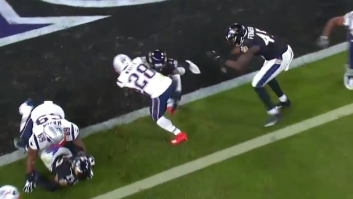 Patriots respond to Ravens defensive touchdown with James White rushing score on Sunday.