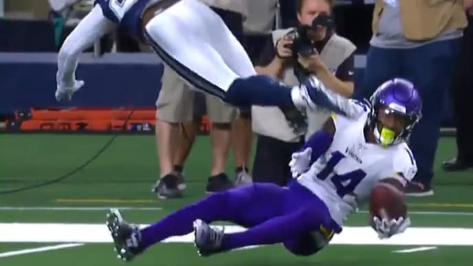 Stefon Diggs makes unreal sliding catch against Cowboys on Sunday.