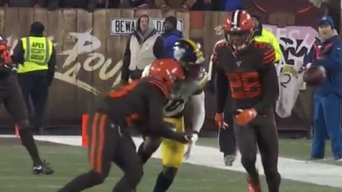 Damarious Randall ejected for dirty hit on Steelers receiver Diontae Johnson on Thursday.