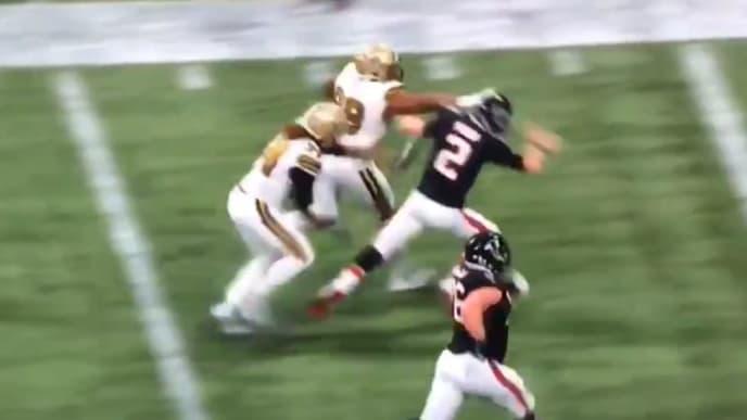 Matt Ryan got viciously stiff-armed after throwing interception vs. Saints on Thanksgiving.