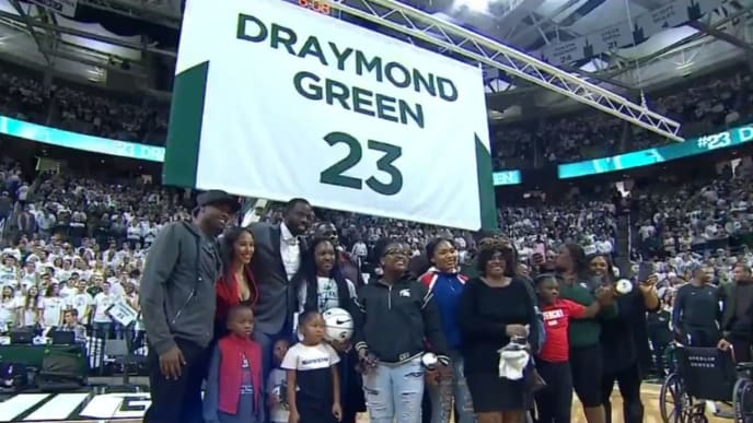 The Michigan State Spartans retired the number of Warriors star Draymond Green on Tuesday night.