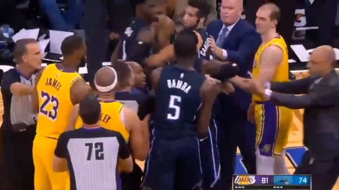 The Lakers and Magic engage in a scuffle on Wednesday night.