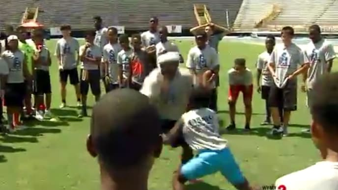 Tarik Cohen hurdled a child at his football camp