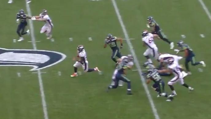 Royce Freeman breaks away for huge 50-yard gain against the Seahawks on Thursday.