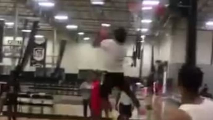 Bronny James throws down monstrous reverse dunk in latest Instagram post.