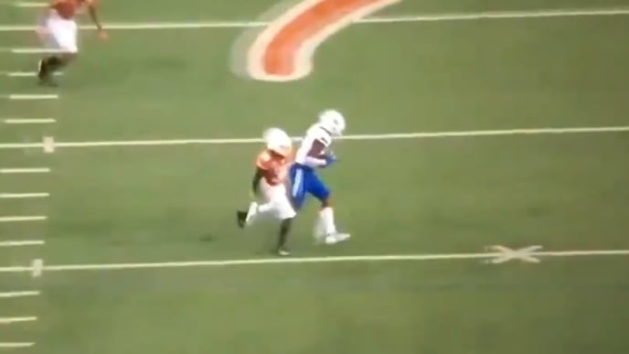 Texas defensive back oddly celebrates after being burned on catch and run against Louisiana Tech.