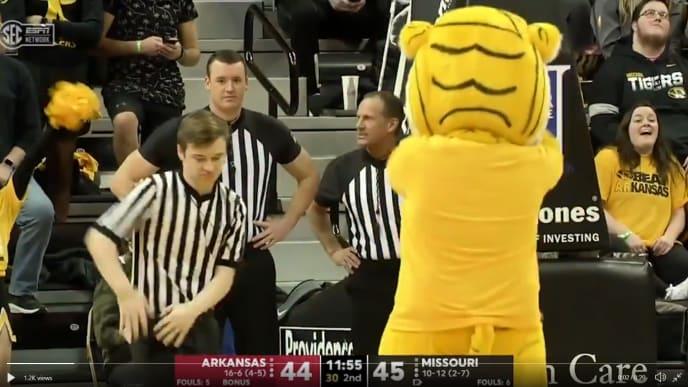 Weird mascot dance-off during Missouri vs Arkansas