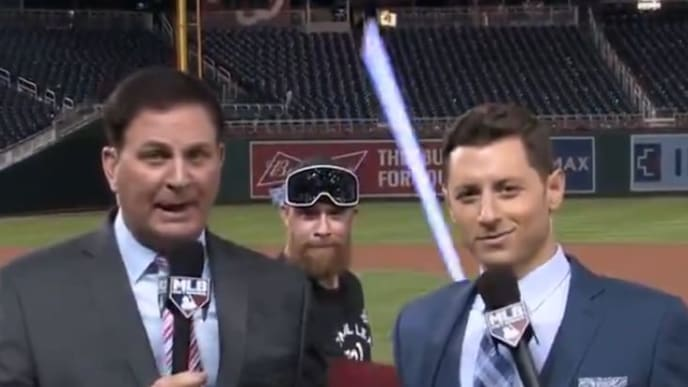 Nationals reliever Sean Doolittle crashes MLB Network broadcast with his lightsaber.