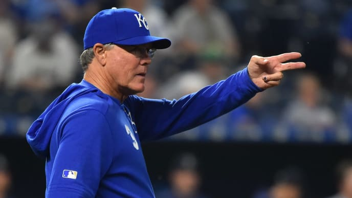 KANSAS CITY, MISSOURI - APRIL 08:  Manager Ned Yost #3 of the Kansas City Royals signals for a pitching change in the sixth inning against the Seattle Mariners at Kauffman Stadium on April 08, 2019 in Kansas City, Missouri. (Photo by Ed Zurga/Getty Images)