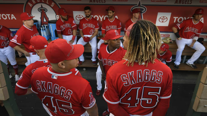 ANAHEIM, CA - JULY 12: View of the Los Angeles Angels of Anaheim dugout before they played the Seattle Mariners at Angel Stadium of Anaheim on July 12, 2019 in Anaheim, California. The entire Angels team wore Tyler Skaggs #45 jersey to honor him after his death on July 1. (Photo by John McCoy/Getty Images)