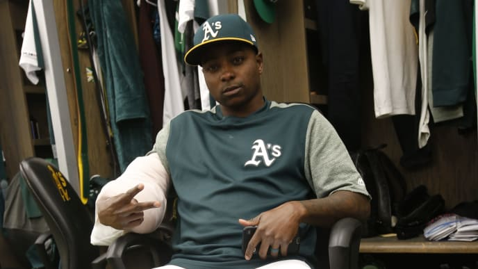 OAKLAND, CA - MAY 26: Jharel Cotton #45 of the Oakland Athletics sits in the clubhouse prior to the game against the Seattle Mariners at the Oakland-Alameda County Coliseum on May 26, 2019 in Oakland, California. The Athletics defeated the Mariners 7-1. (Photo by Michael Zagaris/Oakland Athletics/Getty Images)