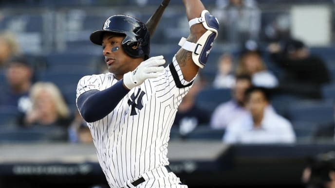 NEW YORK, NY - MAY 7:  Miguel Andujar #41 of the New York Yankees follows through on a swing in an MLB baseball game against the Seattle Mariners on May 7, 2019 at Yankee Stadium in the Bronx borough of New York City. Yankees won 5-4. (Photo by Paul Bereswill/Getty Images)