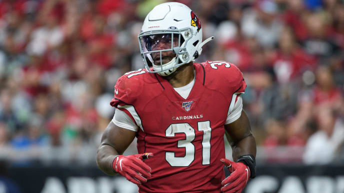 GLENDALE, ARIZONA - SEPTEMBER 29: Running back David Johnson #31 of the Arizona Cardinals in action during in the NFL game against the Seattle Seahawks at State Farm Stadium on September 29, 2019 in Glendale, Arizona. The Seahawks won 27 to 10.  (Photo by Jennifer Stewart/Getty Images)