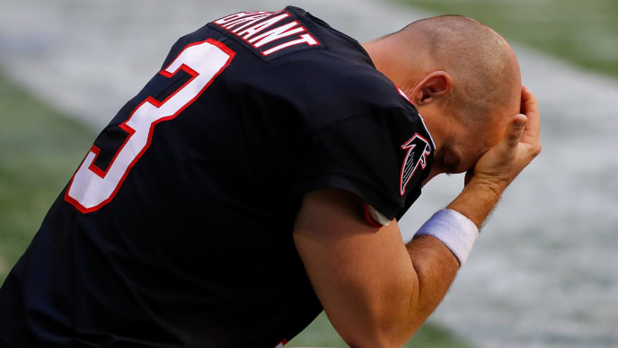 ATLANTA, GEORGIA - OCTOBER 27:  Matt Bryant #3 of the Atlanta Falcons reacts in the fourth quarter of their 27-20 loss to the Seattle Seahawks at Mercedes-Benz Stadium on October 27, 2019 in Atlanta, Georgia. (Photo by Kevin C. Cox/Getty Images)