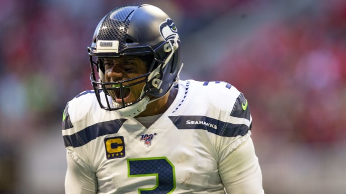ATLANTA, GA - OCTOBER 27: Russell Wilson #3 of the Seattle Seahawks reacts during the fourth quarter of a game against the Atlanta Falcons at Mercedes-Benz Stadium on October 27, 2019 in Atlanta, Georgia. (Photo by Carmen Mandato/Getty Images)