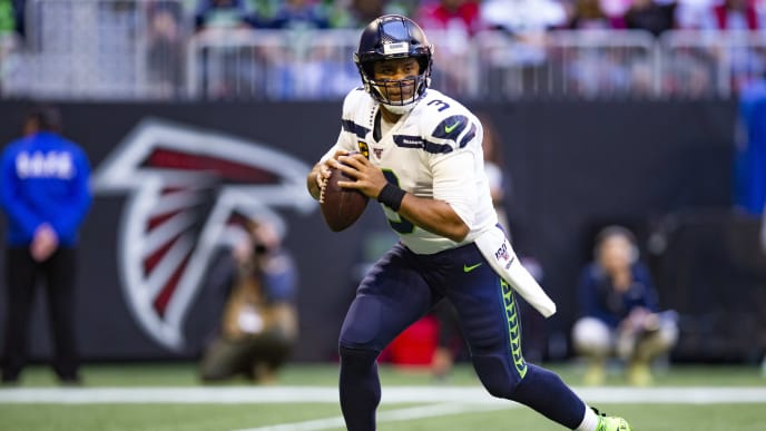 ATLANTA, GA - OCTOBER 27: Russell Wilson #3 of the Seattle Seahawks looks to pass during the first quarter of a game against the Atlanta Falcons at Mercedes-Benz Stadium on October 27, 2019 in Atlanta, Georgia. (Photo by Carmen Mandato/Getty Images)