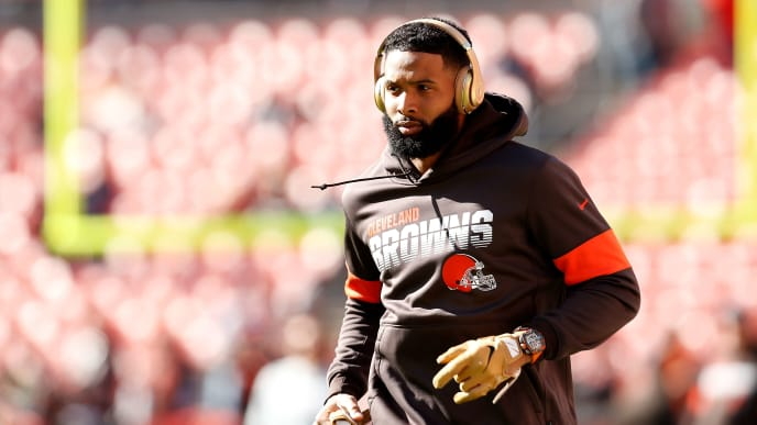 CLEVELAND, OH - OCTOBER 13:  Odell Beckham Jr. #13 of the Cleveland Browns warms up prior to the start of the game against the Seattle Seahawks at FirstEnergy Stadium on October 13, 2019 in Cleveland, Ohio. (Photo by Kirk Irwin/Getty Images)