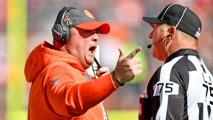 CLEVELAND, OHIO - OCTOBER 13: Head coach Freddie Kitchens of the Cleveland Browns argues with side judge Mark Stewart #75 during the second quarter against the Seattle Seahawks at FirstEnergy Stadium on October 13, 2019 in Cleveland, Ohio. (Photo by Jason Miller/Getty Images)