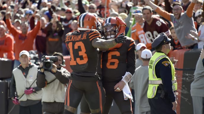CLEVELAND, OHIO - OCTOBER 13: Odell Beckham #13 celebrates with Baker Mayfield #6 of the Cleveland Browns after Mayfield ran in a touchdown during the first quarter against the Seattle Seahawks at FirstEnergy Stadium on October 13, 2019 in Cleveland, Ohio. (Photo by Jason Miller/Getty Images)