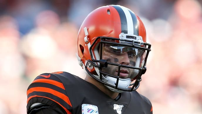 CLEVELAND, OH - OCTOBER 13:  Baker Mayfield #6 of the Cleveland Browns lines up for a play during the game against the Seattle Seahawks at FirstEnergy Stadium on October 13, 2019 in Cleveland, Ohio. Seattle defeated Cleveland 32-28. (Photo by Kirk Irwin/Getty Images)