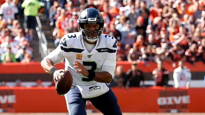 CLEVELAND, OH - OCTOBER 13:  Russell Wilson #3 of the Seattle Seahawks runs with the ball during the game against the Cleveland Browns at FirstEnergy Stadium on October 13, 2019 in Cleveland, Ohio. Seattle defeated Cleveland 32-28. (Photo by Kirk Irwin/Getty Images)