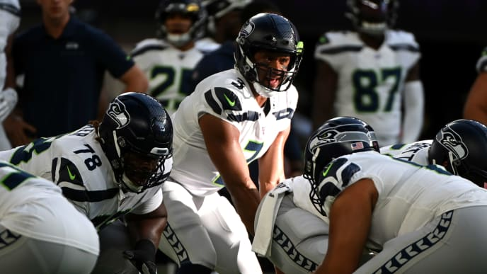 MINNEAPOLIS, MN - AUGUST 18: Russell Wilson #3 of the Seattle Seahawks warms up before the preseason game against the Minnesota Vikings at U.S. Bank Stadium on August 18, 2019 in Minneapolis, Minnesota. (Photo by Stephen Maturen/Getty Images)