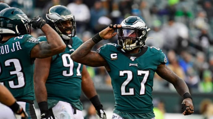 PHILADELPHIA, PA - NOVEMBER 24: Malcolm Jenkins #27 of the Philadelphia Eagles salutes teammate after a sack Rodney McLeod #23 during the fourth quarter at Lincoln Financial Field on November 24, 2019 in Philadelphia, Pennsylvania. The Seahawks defeated the Eagles 17-9. (Photo by Corey Perrine/Getty Images)