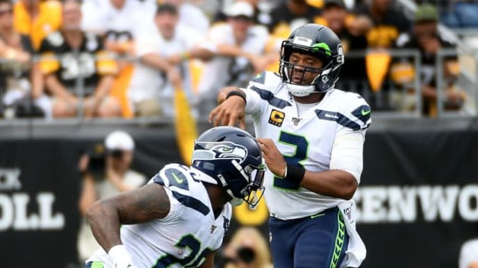 PITTSBURGH, PA - SEPTEMBER 15: Russell Wilson #3 of the Seattle Seahawks passes on the run in the second half against the Pittsburgh Steelers at Heinz Field on September 15, 2019 in Pittsburgh, Pennsylvania. (Photo by Justin Berl/Getty Images)