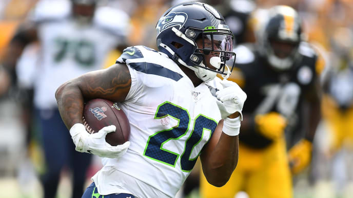 PITTSBURGH, PA - SEPTEMBER 15:  Rashaad Penny #20 of the Seattle Seahawks in action during the game against the Pittsburgh Steelers at Heinz Field on September 15, 2019 in Pittsburgh, Pennsylvania. (Photo by Joe Sargent/Getty Images)