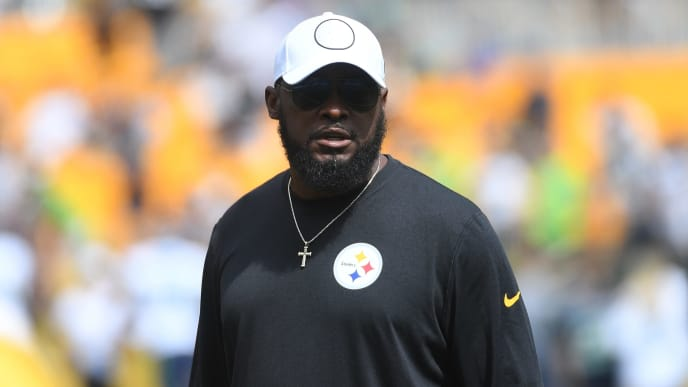 PITTSBURGH, PA - SEPTEMBER 15: Head coach Mike Tomlin of the Pittsburgh Steelers looks on during warmups before the game against the Seattle Seahawks at Heinz Field on September 15, 2019 in Pittsburgh, Pennsylvania. (Photo by Justin Berl/Getty Images)