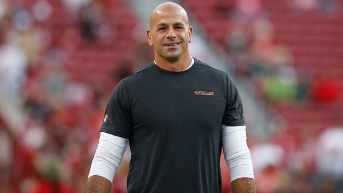 SANTA CLARA, CALIFORNIA - NOVEMBER 11: San Francisco 49ers defensive coordinator Robert Saleh looks on before the game against the Seattle Seahawks at Levi's Stadium on November 11, 2019 in Santa Clara, California. (Photo by Lachlan Cunningham/Getty Images)