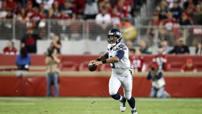 SANTA CLARA, CALIFORNIA - NOVEMBER 11: Russell Wilson #3 of the Seattle Seahawks in action against the San Francisco 49ers at Levi's Stadium on November 11, 2019 in Santa Clara, California. (Photo by Ezra Shaw/Getty Images)