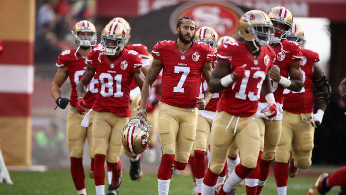 SANTA CLARA, CA - JANUARY 01:  Colin Kaepernick #7 of the San Francisco 49ers runs in to the field for their game against the Seattle Seahawks at Levi's Stadium on January 1, 2017 in Santa Clara, California.  (Photo by Ezra Shaw/Getty Images)