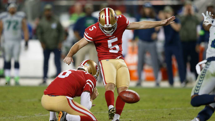 SANTA CLARA, CALIFORNIA - NOVEMBER 11: Chase McLaughlin #5 of the San Francisco 49ers kicks a field goal to tie the game against the Seattle Seahawks late in the fourth quarter at Levi's Stadium on November 11, 2019 in Santa Clara, California. (Photo by Lachlan Cunningham/Getty Images)