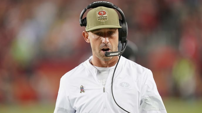 SANTA CLARA, CALIFORNIA - NOVEMBER 11: Head coach Kyle Shanahan of the San Francisco 49ers walks on the sidelines in the gameagainst the Seattle Seahawks at Levi's Stadium on November 11, 2019 in Santa Clara, California. (Photo by Thearon W. Henderson/Getty Images)