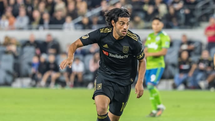 LOS ANGELES, CA - OCTOBER 29:  Carlos Vela #10 of Los Angeles FC during the MLS Western Conference Final between Los Angeles FC and Seattle Sounders at the Banc of California Stadium on October 29, 2019 in Los Angeles, California.  Seattle Sounders won the match 3-1 (Photo by Shaun Clark/Getty Images)