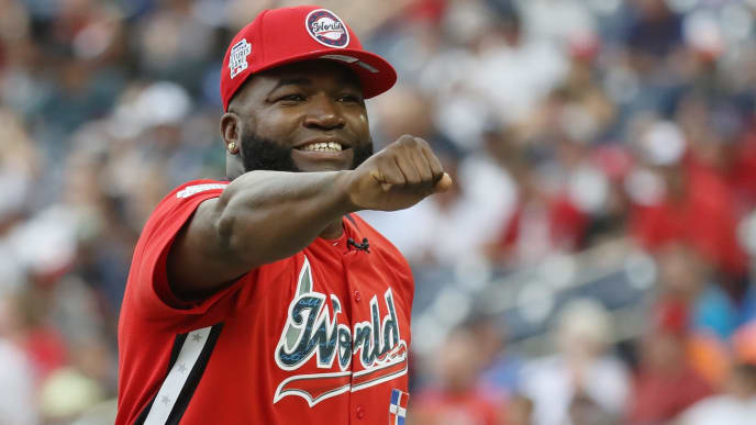 WASHINGTON, DC - JULY 15:  Manager David Ortiz of the World Team celebrates against the U.S. Team during the SiriusXM All-Star Futures Game at Nationals Park on July 15, 2018 in Washington, DC.  (Photo by Rob Carr/Getty Images)