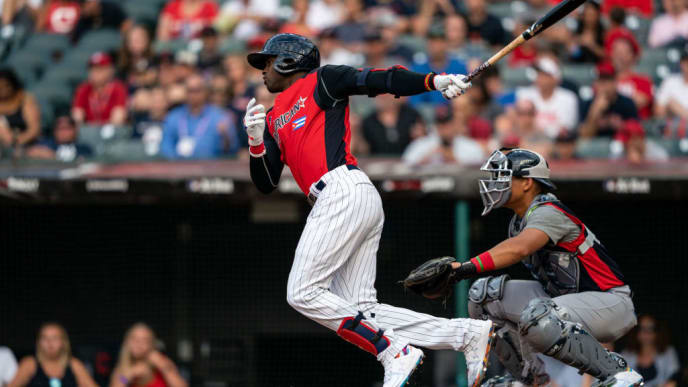 CLEVELAND, OH - JULY 07: Luis Robert #9 of the American League Futures Team bats during the SiriusXM All-Star Futures Game on July 7, 2019 at Progressive Field in Cleveland, Ohio. (Photo by Brace Hemmelgarn/Minnesota Twins/Getty Images)