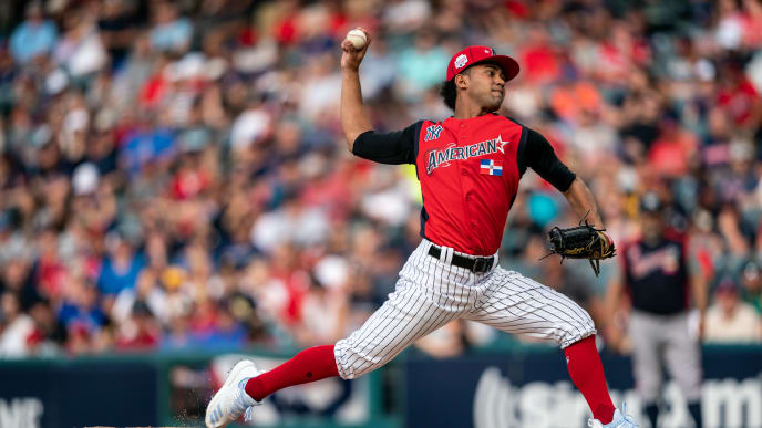 CLEVELAND, OH - JULY 07: Deivi Garcia #45 of the American League Futures Team pitches during the SiriusXM All-Star Futures Game on July 7, 2019 at Progressive Field in Cleveland, Ohio. (Photo by Brace Hemmelgarn/Minnesota Twins/Getty Images)