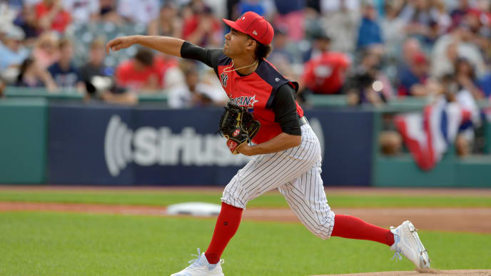 CLEVELAND, OHIO - JULY 07:  Starting pitcher Deivi Garcia #45 of the American League pitches during the first inning agains the National League during the SiriusXM All-Star Futures Game at Progressive Field on July 07, 2019 in Cleveland, Ohio. The American and National League teams tied 2-2. (Photo by Jason Miller/Getty Images)
