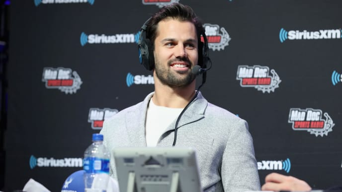 ATLANTA, GEORGIA - JANUARY 31: Eric Decker attends SiriusXM at Super Bowl LIII Radio Row on January 31, 2019 in Atlanta, Georgia. (Photo by Cindy Ord/Getty Images for SiriusXM)
