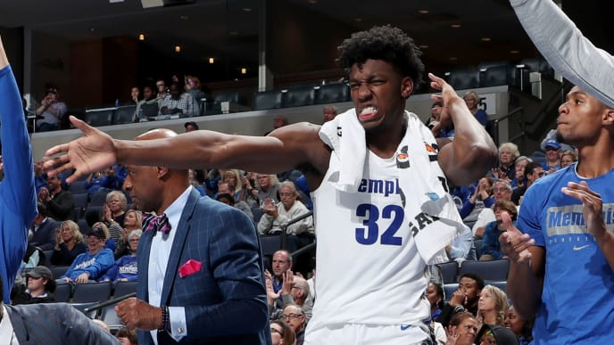 MEMPHIS, TN - NOVEMBER 5: James Wiseman #32 of the Memphis Tigers celebrates on the bench against the South Carolina State Bulldogs during a game on November 5, 2019 at FedExForum in Memphis, Tennessee. Memphis defeated South Carolina State 97-64. (Photo by Joe Murphy/Getty Images)