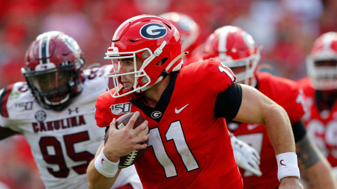 ATHENS, GEORGIA - OCTOBER 12:  Jake Fromm #11 of the Georgia Bulldogs rushes against the South Carolina Gamecocks in the second half at Sanford Stadium on October 12, 2019 in Athens, Georgia. (Photo by Kevin C. Cox/Getty Images)