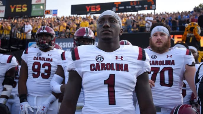 COLUMBIA, MO - SEPTEMBER 9:  Deebo Samuel #1 of the South Carolina Gamecocks waits with teammate to take to the field prior to a game against the Missouri Tigers in the first quarter at Memorial Stadium on September 9, 2017 in Columbia, Missouri. (Photo by Ed Zurga/Getty Images)